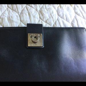 SALVATORE FERRAGAMO Black Calfskin Leather Wallet
